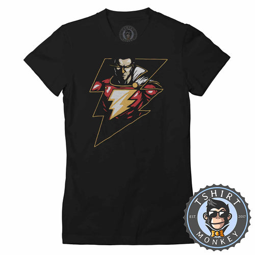 Lightning Shazam Graphic Illustration Tshirt Shirt Lady Fit Ladies 2376