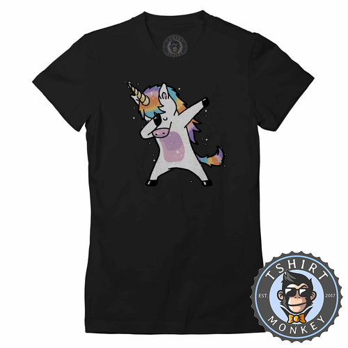 Dabbing Cool Unicorn Cute Tshirt Lady Fit Ladies 1417