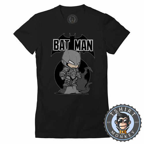 Cute Chibi Armored Bat Man Inspired Cartoon Tshirt Shirt Lady Fit Ladies 2352
