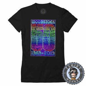 Woodstock At 50 Retro Vintage Music Inspired Tshirt Lady Fit Ladies 1265