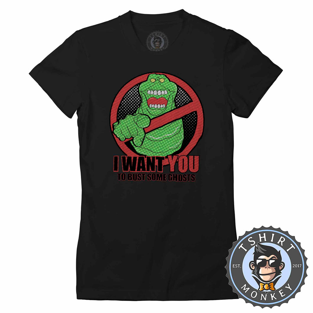 Slimer - I Want You To Bust Some Ghosts Movie Inspired Tshirt Lady Fit Ladies 1188