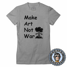 Load image into Gallery viewer, Make Art Not War Retro Peace Love Hippy Tshirt T Shirt Men Lady Kids All Colours - TeeTiger