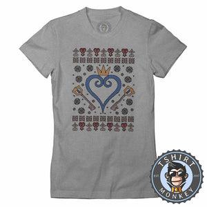 Kingdom Hearts Ugly Sweater Christmas Tshirt Lady Fit Ladies 2911