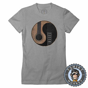 Acoustic X Electric Ying Yang Inspired Guitar Tshirt Lady Fit Ladies 0076
