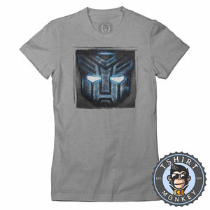 Autobots Inspired Halftone Distressed Tshirt Lady Fit Ladies 0255
