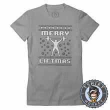 Load image into Gallery viewer, Merry Liftmas Ugly Sweater Christmas Tshirt Lady Fit Ladies 1651