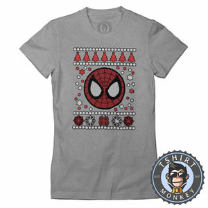 Spidey Badge Ugly Sweater Christmas Tshirt Lady Fit Ladies 1665