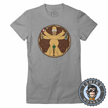 Load image into Gallery viewer, The Vitruvian Man Homer Funny Cartoon Tshirt Shirt Lady Fit Ladies 2371