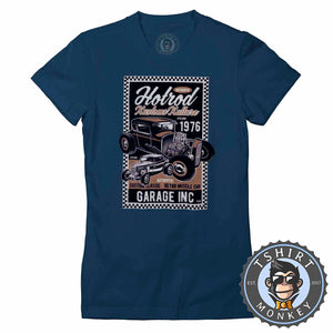 Hotrod Kustom Kulture V2 Vintage Car Inspired Halftone Poster Graphic Tshirt Lady Fit Ladies 1164