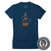 Load image into Gallery viewer, Trick or Treat Witch Cool Graphic Cartoon Halloween Tshirt Lady Fit Ladies 1152