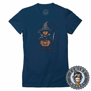 Trick or Treat Witch Cool Graphic Cartoon Halloween Tshirt Lady Fit Ladies 1152