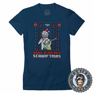 Merry Scwhwiftmas Ugly Sweater Christmas Tshirt Lady Fit Ladies 1660
