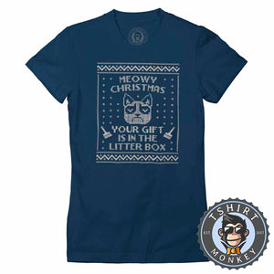 Meowy Christmas Ugly Sweater Christmas Tshirt Lady Fit Ladies 2876
