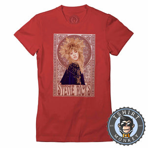 Mucha Art Stevie Nicks Inspired Graphic Illustration Halftone Tshirt Lady Fit Ladies 1121