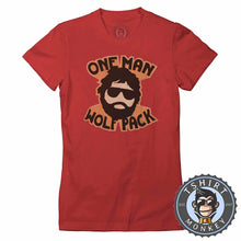 Load image into Gallery viewer, One Man Wolf Pack Beard Funny Vintage Statement Tshirt Lady Fit Ladies 1062