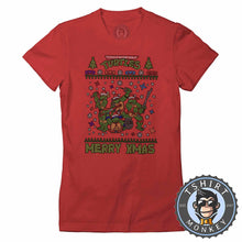 Load image into Gallery viewer, Cowabunga Ugly Sweater Christmas Tshirt Lady Fit Ladies 1673