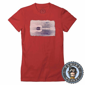 Distressed Guitar Island Inverted Tshirt Lady Fit Ladies 0086