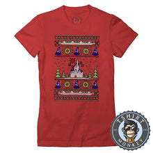 Load image into Gallery viewer, Magical Castle Ugly Sweater Christmas Tshirt Lady Fit Ladies 2871