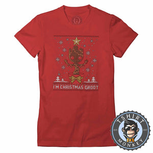 Groot Inspired Ugly Sweater Christmas Tshirt Lady Fit Ladies 2857