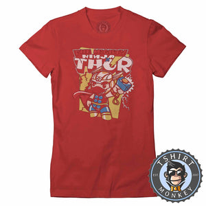 The Mighty Ninja Thor Inspired Cute Mashup Cartoon Tshirt Shirt Lady Fit Ladies 2366