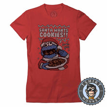Load image into Gallery viewer, Santa Wants Cookies Ugly Sweater Christmas Tshirt Lady Fit Ladies 2999
