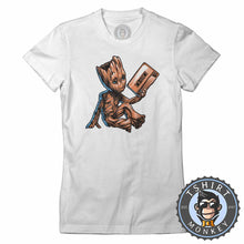 Load image into Gallery viewer, Baby Groot Cassette Tape Cute Graphic Tshirt Shirt Lady Fit Ladies 2372