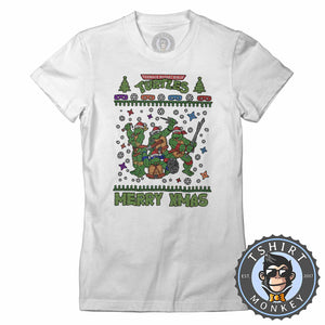 Cowabunga Ugly Sweater Christmas Tshirt Lady Fit Ladies 1673