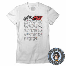 Load image into Gallery viewer, MotoGP Circuit Calendar 2019 Tshirt Lady Fit Ladies 0173