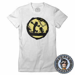 Calvin and Hobbes Into the Moon Silhouette Popular Comic Tshirt Lady Fit Ladies 1330