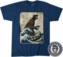 Load image into Gallery viewer, Vintage Godzilla Movie Inspired Wave Halftone Graphic Illustration Tshirt Mens Unisex 1327