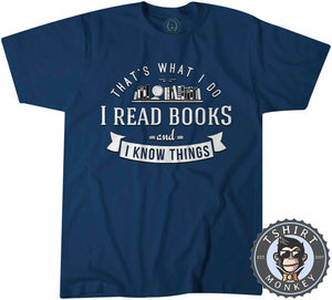 I Read Books And I Know Things Vintage Bookworm Graphic Tshirt Kids Youth Children 1281
