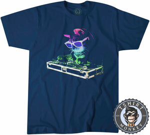 DJ Cat Music Inspired Animal Retro Tshirt Shirt Mens Unisex 2096