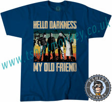 Load image into Gallery viewer, Hello Darkness My Old Friend Parody Halloween T-Shirt Unisex Mens Kids Ladies - TeeTiger