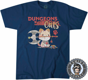 Dungeon Cats - Funny Dungeons and Dragon Meme Tshirt Mens Unisex 1133