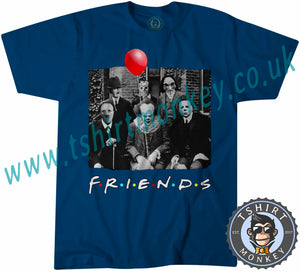 Friends Horror Parody Characters Myers Jigsaw Pennywise Jason Kruger Hitler Halloween T-Shirt Unisex Mens Kids Ladies - TeeTiger