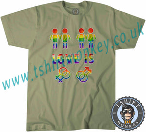 Love Is Love Gay Pride LGBTQ+ T Shirt T-Shirt Unisex Mens Kids Ladies - TeeTiger