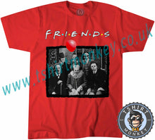 Load image into Gallery viewer, UK Horror Characters Friends Parody Halloween Psychodynamics T-Shirt Unisex Mens Kids Ladies - TeeTiger
