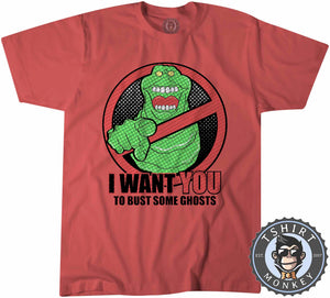Slimer - I Want You To Bust Some Ghosts Movie Inspired Tshirt Kids Youth Children 1188