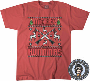 Merry Huntmas Colored Ugly Sweater Christmas Tshirt Kids Youth Children 1650