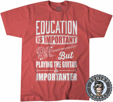 Load image into Gallery viewer, Education vs Playing Guitar Tshirt Kids Youth Children 0091