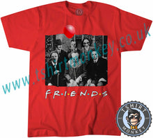 Load image into Gallery viewer, Friends Horror Parody Characters Myers Jigsaw Pennywise Jason Kruger Hitler Halloween T-Shirt Unisex Mens Kids Ladies - TeeTiger