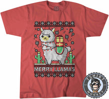 Load image into Gallery viewer, Merry Llamas Ugly Sweater Christmas Tshirt Kids Youth Children 3005