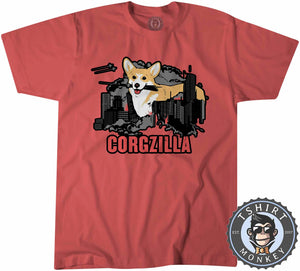 CORGZILLA - Dog Inspired Corgi Funny Animal Print Meme Tshirt Kids Youth Children 1094