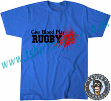 Load image into Gallery viewer, Give Blood Play Rugby T-Shirt Unisex Mens Kids Ladies - TeeTiger