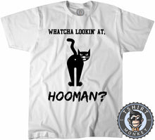 Load image into Gallery viewer, Whatcha Lookin At Hooman Funny Cat Graphic Tshirt Kids Youth Children 1066