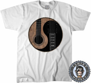 Acoustic X Electric Ying Yang Inspired Guitar Tshirt Mens Unisex 0076