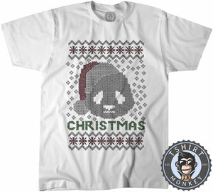 Christmas Panda Ugly Sweater Tshirt Kids Youth Children 2883