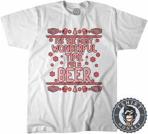 Wonderful Time For A Beer Ugly Sweater Christmas Tshirt Kids Youth Children 1641