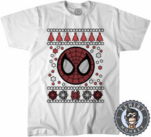 Load image into Gallery viewer, Spidey Badge Ugly Sweater Christmas Tshirt Mens Unisex 1665