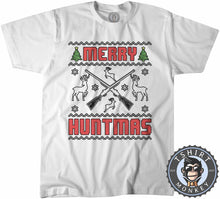 Load image into Gallery viewer, Merry Huntmas Colored Ugly Sweater Christmas Tshirt Kids Youth Children 1650